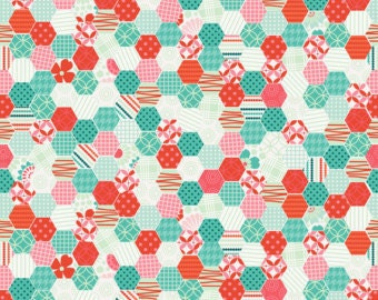 PADDED Ironing Board Cover made with Riley Blake So Happy Together teal and red hexagons fabric, select the size