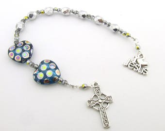 Anglican Rosary Beads - Celtic Cross Silver Anglican Prayer Beads - Pocket Rosary Protestant Prayer Beads - Anglican Gift - Christian Gift
