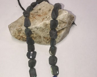 "1 Strand Labradorite Faceted Gemstone Nuggets Nugget Free size 14"" Long"