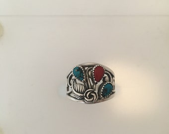 Blue Turquoise and Red Carnelian Sterling Silver Ring, Floral. FREE SHIPPING!