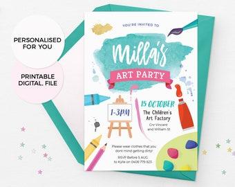 Art party invitations printable, Art birthday invitations, Art birthday party invitations, Painting party invitations, Art party invites pdf