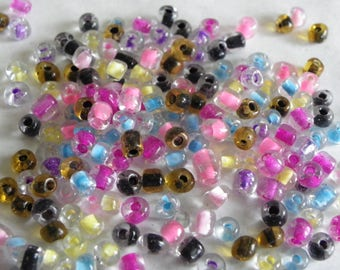 200 4 mm seed beads mix multicolor pink green black glass beads