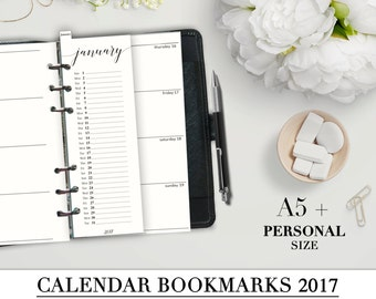 Printable CALENDAR BOOKMARKS 2017 for your A5 and Personal Planner_Monthly Bookmarks_Filofax Personal Refill Month_ Special offer!