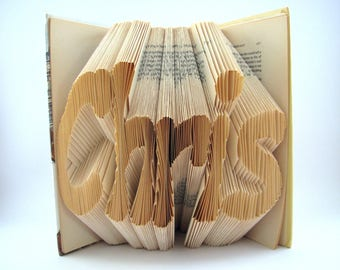 Custom folded book - Name - Book sculpture - Altered book - Gift - Name on demand - Paper Gift - Christmas Gift - Best selling