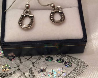Authentic Vintage STERLING Silver 925 HORSESHOE LUCKY Delicate Tiny Earrings, Birthday, Free Postage.