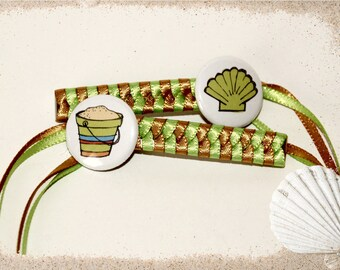 Braided Ribbon Hair Barrettes with Sand Pail and Clam Shell Buttons