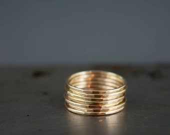 Thin 14k Gold Rings - Delicate Gold Rings - Gold Stacking Ring Set of 6 - Simple 14k Gold Filled Hammered Rings