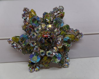JULIANA Aurora Borealis Crystal and Art Glass Star Brooch