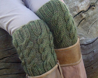 KNITTING PATTERN Boot Cuff Boot Topper - Easy Cable Pattern Instnant Digital Download PDF