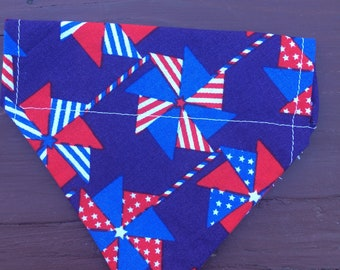Small Fourth of July, Red White and Blue Over The Collar Dog Bandanas