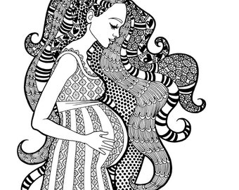 A SWEET EXPECTATION - Coloring Page - Motherhood Series Zentangle Method Line Art Decorative Doodle Illustration Expectant Pregnant Mother