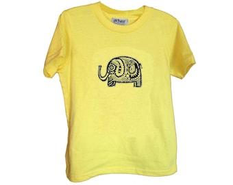 Yellow Elephant Kids Tshirt Size 2 4 6 American Apparel Cotton T2 T4 T6