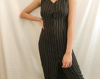 Vintage 90's Striped Button Down Maxi Dress