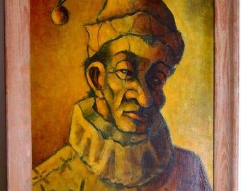 Arthur(sold) Josephson dated 1949 clown, new jersey artist large oil on canvas 20 x 28