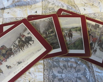Trivets SET of 4 Boxed by Clover Leaf of England  //  Burgundy Mats with Gold Trim STAGE COACH Scenes in Winter  //  Original Box Cork Backs