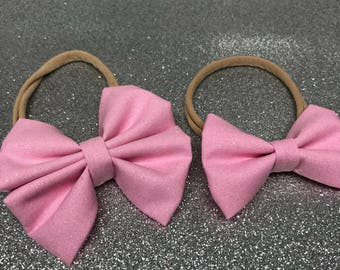 Solid Pink Glitter Bow Headband or Bow Clip