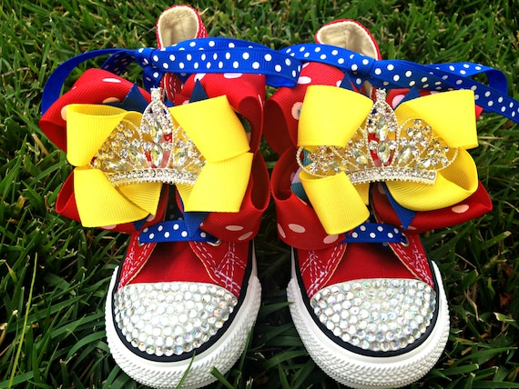 SNOW WHITE SHOES - Snow White Costume - Snow White Party - Princess Party - Snow  White Birthday - Bling Converse - Infant/Toddler/Youth
