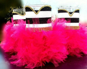 Black and White stripe centerpiece with fushia | Hot pink and stripe centerpiece | Fushia and stripe party favors