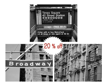 New York City photography set of 3 prints, black & white pictures, New York street decor NYC wall art set, Broadway sign Time Square subway