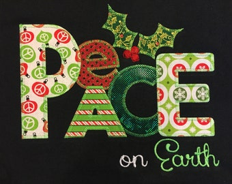 Christmas Appliqued T-Shirt Blingy Letters Peace on Earth Holiday Sparkle