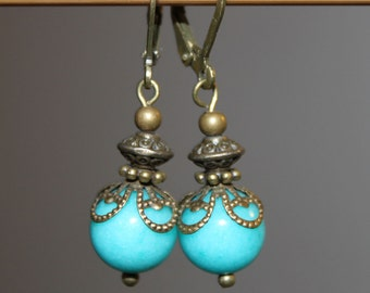 Turquoise Earrings Dangle Earrings Drop Earrings Victorian Earrings Boho Chic Earrings Small Earrings Gift For her Gift For women