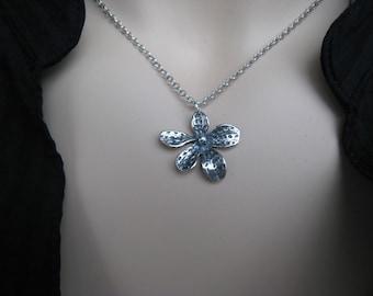 Small Flower Silver Necklace, Daisy, Oxidized Silver, Irisjewelrydesign