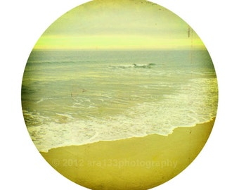 Beach Photograph, Ocean Photo, Nautical, Landscape Picture, Nature, Yellow, Circular Image on an 8x10 inch Print -Held in Our Hearts
