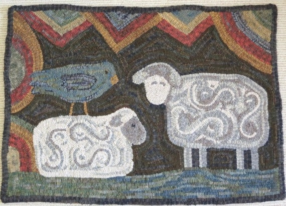 """Rug Hooking Pattern, Two Sheep and Bird, 24"""" x 36"""", J619, Primitive Folk Art Sheep Design, Primitive Rug Hooking"""