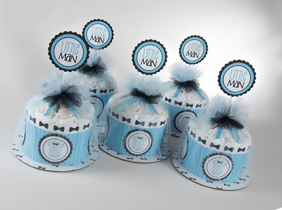 """Five """"Little Man"""" Mini Diaper Cakes. Bow Tie & Onsies Theme. Baby Shower Centerpieces."""
