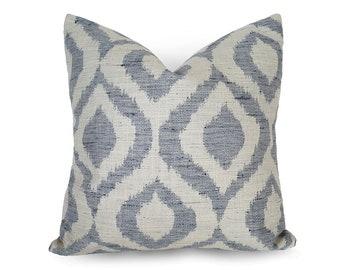 Blue Ikat Pillows, Ikat Pillow Covers, Blue White Pillows, Ikat Cushions, Blue Pillow Case, Cream Pillow, Blue Throw Pillows, All Sizes, NEW