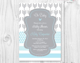 Baby shower boy invitation, tribal theme baby shower, blue and gray, tribal theme, arrows theme