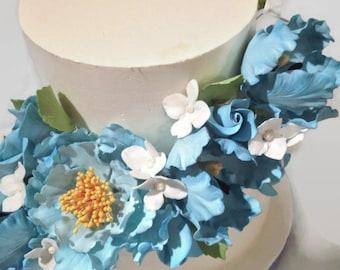 Sugar Flower Cake Topper Arrangement, blue gumpaste flowers, peony, tulip, roses, hydrangeas, wedding cake topper, diy bride