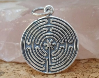 Sterling Silver Labyrinth Coin Pendant Charm, Labyrinth, Flower of Life, Spiritual Pendant, Coin Charms, Yoga Spirit Necklace, Silver Discs