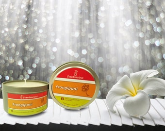 Scentsacious Frangipani Scented Soy Candle Small Tin 120g