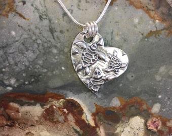 Sea Turtles Heart Fine Silver Pendant