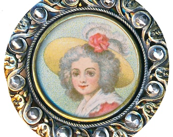 Button--Very Large Late 19th C. Lithograph Lady in Frizzled Hair & Bonnet