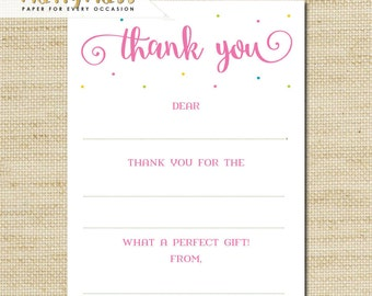 Birthday Thank You Cards - Girls Confetti Birthday - Kids Thank You Cards - kids fill in the blank thank you cards and matching envelopes