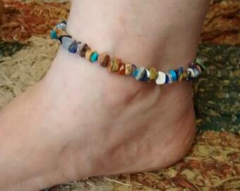 Gemstone and Sterling Silver Anklets. Adjustable size. Super Strong