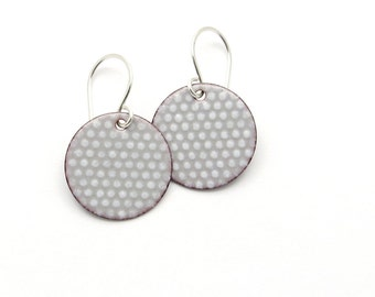 Gray Polka Dot Earrings with Sterling Silver Earwires - Modern Enamel Jewelry - Birthday Gift for her