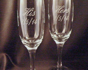 Personalized Etched Champagne Flutes with Your Choice of Wording - Wedding Toasting Glasses