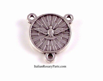 Holy Spirit Rosary Center Medal With Seven Gifts on Back | Italian Rosary Parts