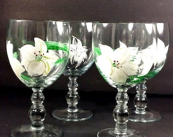"""Set of 4 Unmarked, Hand painted stemmed drinking or wine Goblets flower 6.2"""""""
