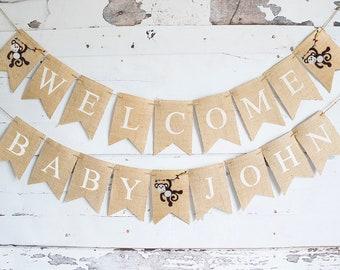 Monkey Baby Shower Decor, Monkey Baby Shower Banner, Welcome Baby Banner,  Monkey Shower Decorations, B937