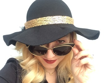 Raven's Gold Hand Blocked 100% Wool Wide Brim Hat in Black and Gold.  1940's Retro Inspired, Noir, Goth