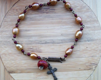 Gold Pearl Rosary Bracelet -  Burgundy, bronze and gold bracelet