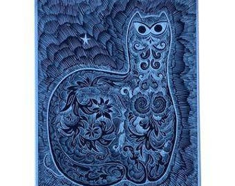 Sascha Brastoff Modernist Silver Foil Cat Print