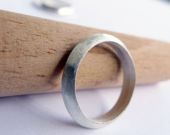 Eclipse In Matte Silver. Handmade Silver Ring. Man and Woman 925 Band. Triangle Band Ring. Unique Handmade Stackable Band. Promise Ring.