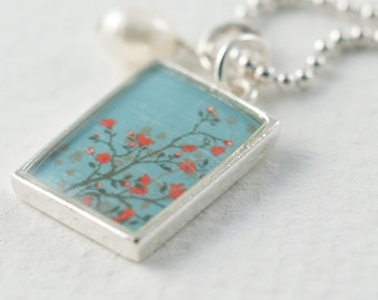 Orange Blossom Necklace | Aqua Pendant | Silver Rectangle Pendant | Flower Necklace | Floral Pendant | Nature Inspired Jewelry |Gift for her