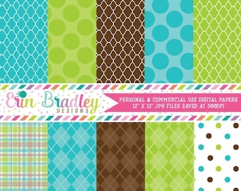 80% OFF SALE Digital Scrapbook Papers Personal and Commercial Use Blue Green and Brown Printable Digital Papers Instant Download