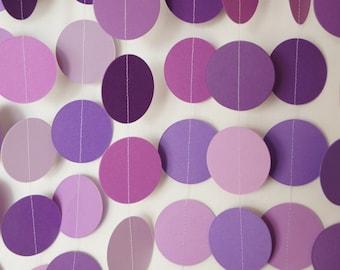 Purple Garland, Baby Shower Decoration, Purple Party Decor, Birthday Circle Garland, Purple Polka Dot Decoration, 10 ft. long